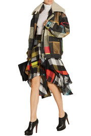 Shelley shearling-trimmed checked wool-felt coat