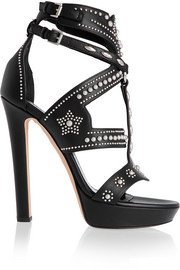 Studded leather platform sandals