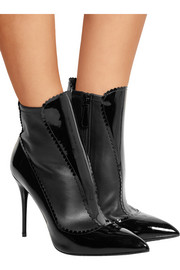Scalloped patent-leather ankle boots