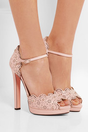 Studded laser-cut leather sandals