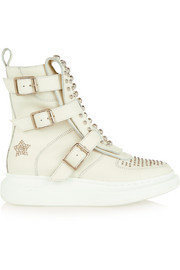 Studded leather exaggerated-sole high-top sneakers