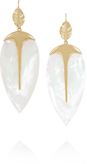 Aurélie Bidermann Talitha gold-plated mother-of-pearl earrings