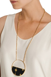 Bianca gold-plated onyx necklace