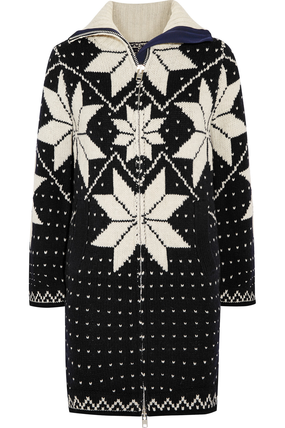 Sacai Fair Isle Intarsia Wool-Blend Sweater Dress, Navy, Women's, Size: 2