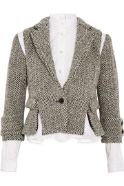 Herringbone wool-blend tweed jacket