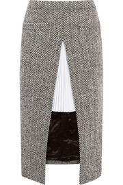Twill-paneled herringbone wool-blend skirt