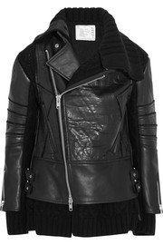 Wool-paneled leather biker jacket