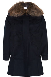 Goat hair-trimmed wool-felt duffle coat