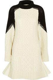 Pleated cable-knit wool dress