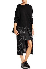 Cotton twill-paneled checked wool skirt