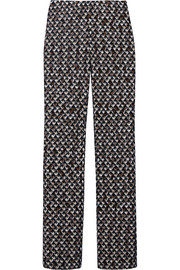Patterned crochet-knit straight-leg pants