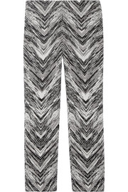 Cropped wool-blend jacquard flared pants
