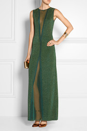 Missoni Mesh-paneled metallic crochet-knit gown