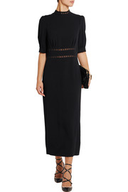 Ida lace-trimmed crepe midi dress