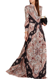 Gwen pleated printed silk crepe de chine maxi dress