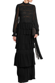 Camilla pleated chiffon and lace gown