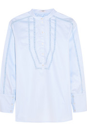 Joan lace-paneled cotton-twill blouse