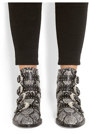 Studded ankle boots in elaphe and leather