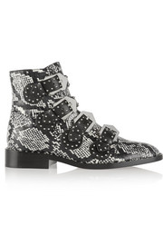 Givenchy Studded ankle boots in elaphe and leather