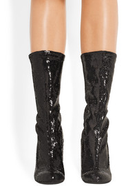 Boots in sequined black stretch-leather