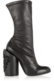 Crystal-embellished leather boots