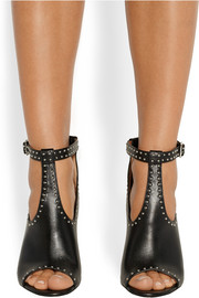 Studded ankle boots in black leather