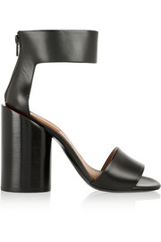 Block-heeled sandals in black leather