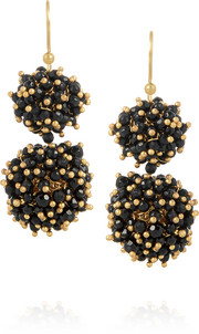 Pom Pom gold-tone, onyx and agate earrings