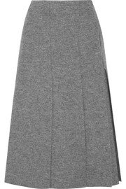 Pleated boiled wool wrap midi skirt