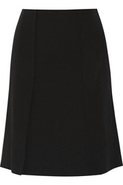 Stretch-wool crepe skirt