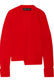 Asymmetric ribbed wool and cashmere-blend sweater