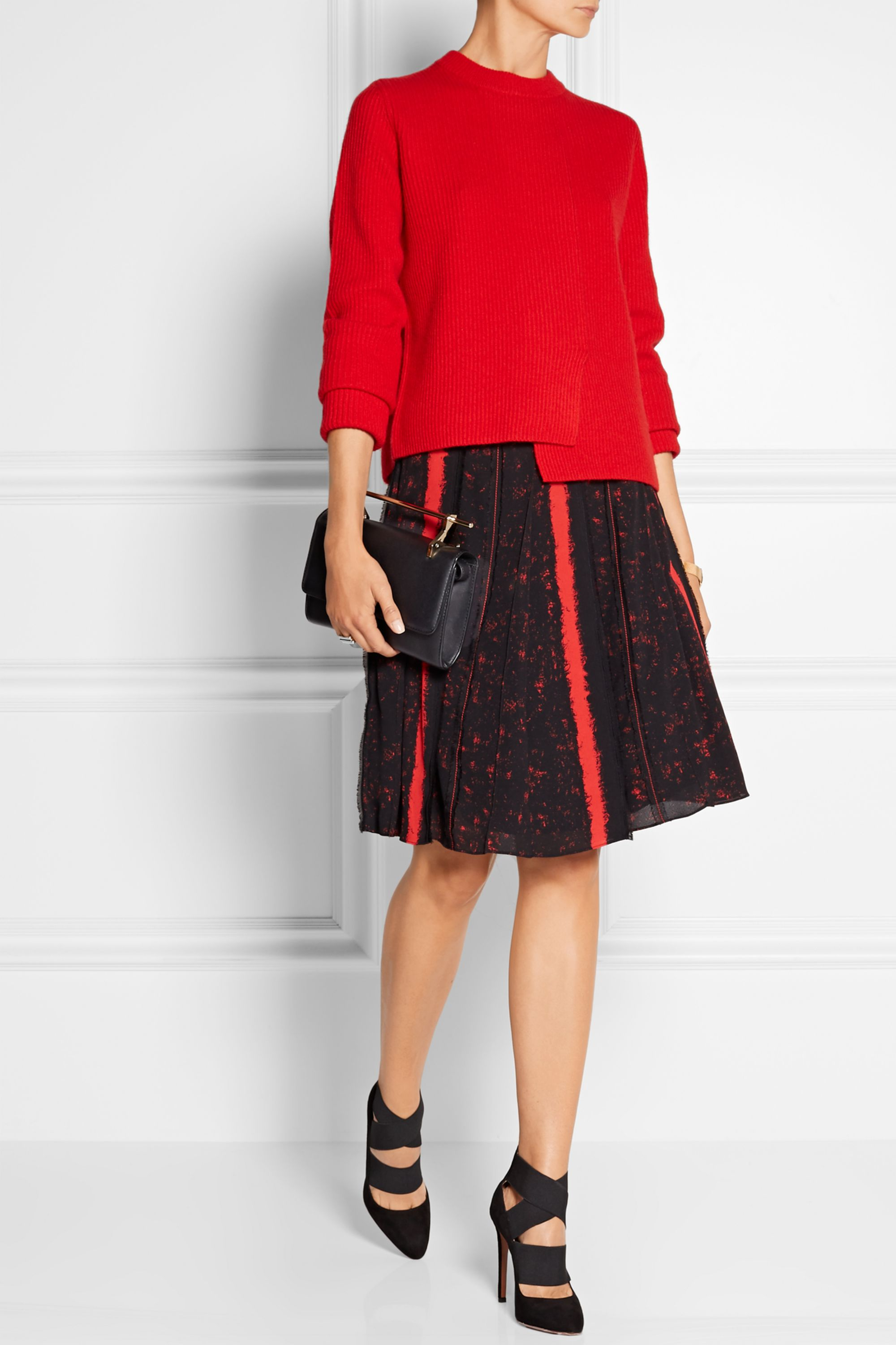 Proenza Schouler Asymmetric ribbed wool and cashmere-blend sweater