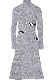 Cutout stretch-knit turtleneck dress