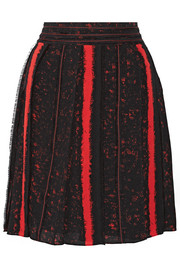 Pleated printed silk-georgette skirt