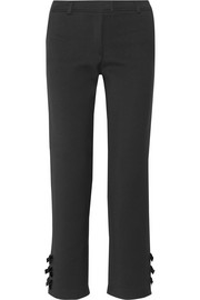 Milene appliquéd stretch-ponte straight-leg pants