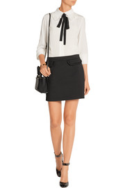 Zabor ruffle-trimmed stretch-cady mini skirt