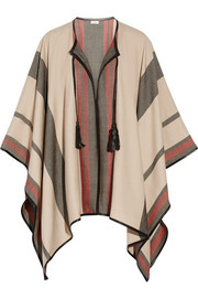 Leather-trimmed cashmere and wool-blend cape