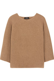 Ribbed camel hair sweater