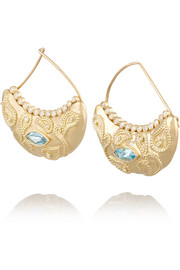 Cashmere 18-karat gold, aquamarine and diamond earrings