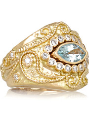Cashmere 18-karat gold, diamond and aquamarine ring
