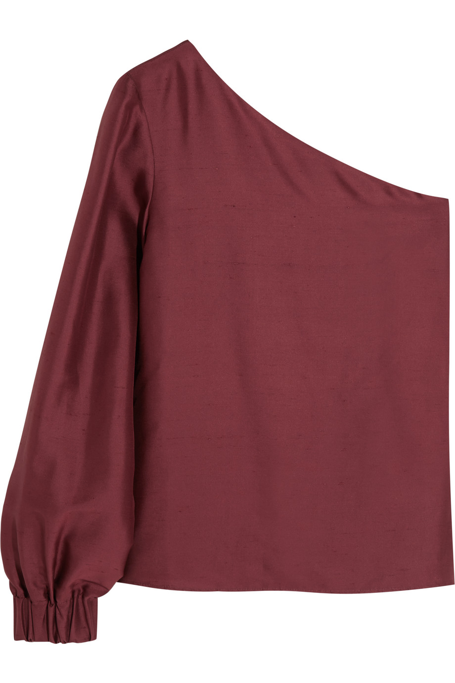 Zeus+dione Agnes One-Sleeve Silk-Shantung Top, Burgundy, Women's, Size: 42