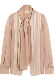 Phyllis pussy-bow embroidered silk-georgette blouse