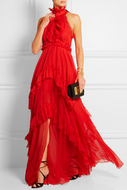 Ruffled tiered silk-chiffon gown