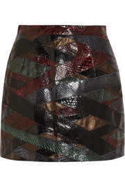 Patchwork python and metallic leather mini skirt