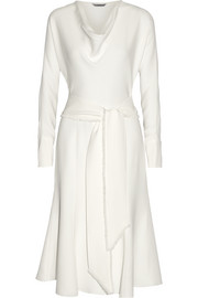 Belted silk-crepe dress