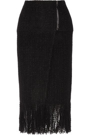 Fringed wool-blend tweed wrap skirt