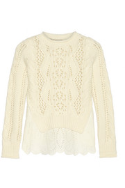 Layered cable-knit wool and broderie anglaise linen sweater