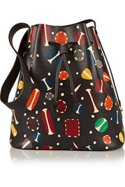 Extendable printed matte-leather bucket bag