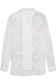 Flocked organza and cotton-blend poplin shirt