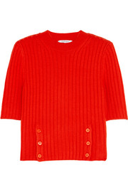 Cropped ribbed merino wool-blend sweater